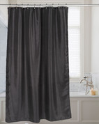 Shimmer Faux-Silk Shower Curtain - Black