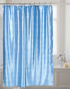 Shimmer Faux-Silk Shower Curtain - Slate Blue