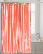Shimmer Faux-Silk Shower Curtain - Salmon