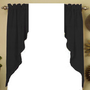 Ribcord kitchen curtain swag - Black