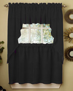 Ribcord Kitchen Curtain - Black