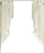 Gridwork kitchen curtain swag - Cream