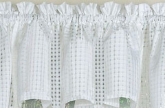 Gridwork kitchen curtain swag - White