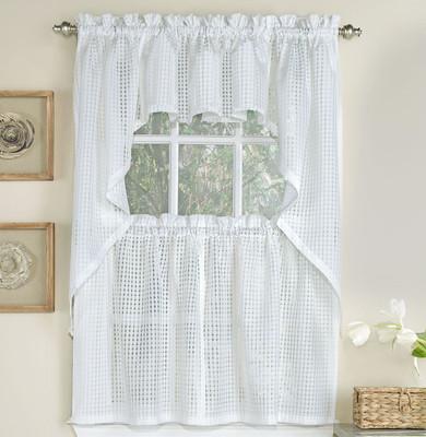 Gridwork Semi-Sheer Kitchen Curtain - White