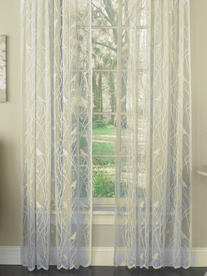 Songbird Lace Rod Pocket Curtain Panels   Ivory
