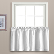 "Dorothy 24"" kitchen curtain tier - White"
