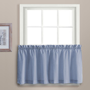 "Dorothy 24"" kitchen curtain tier - Blue"