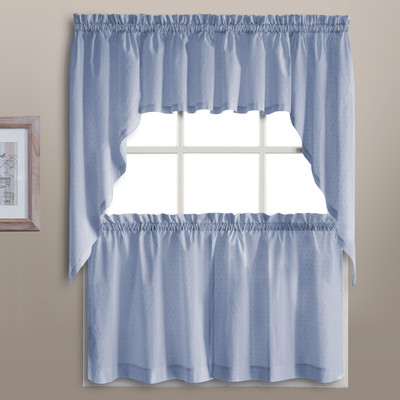 Dorothy Swiss Dot Kitchen Curtain - Blue