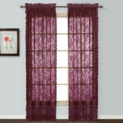 Windsor Lace Burgundy Rod Pocket Curtain Panels (2 shown)