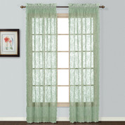 Windsor Lace Sage Green (2) Rod Pocket Curtain Panels