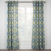 Tuscany Lined Grommet Top Curtain Panel - Blue from Ellis Curtain