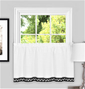 "Camden from Achim 24"" kitchen curtain tier - Black"