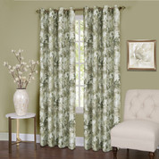 Tranquility Floral Lined Grommet Top Curtain Panel - Green from Achim
