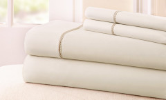 400 Thread Count Rope Sheet Set 100% cotton - Ivory/Taupe