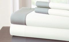 400 Thread Count Contrast Band Sheet Set 100% cotton - White/Grey
