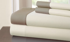 400 Thread Count Contrast Band Sheet Set 100% cotton - Linen/Mocha