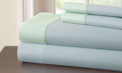 400 Thread Count Contrast Band Sheet Set 100% cotton - Blue/Jade
