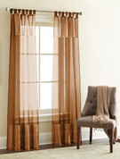 Silk Sheer Loop Top Curtain pair - Copper