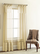 Silk Sheer Loop Top Curtain pair - Natural