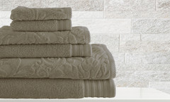 Leaf Swirl Collection 6 piece towel SET - Taupe