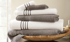 Contrast Stripe Collection 6 piece towel SET - Platinum