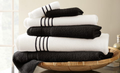 Contrast Stripe Collection 6 piece towel SET - Black