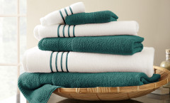 Contrast Stripe Collection 6 piece towel SET - Teal