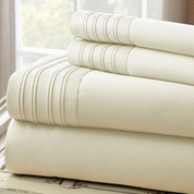 1000 Thread Count Pleated Hem Sheet Set - Ivory