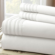 1000 Thread Count Pleated Hem Sheet Set  - White