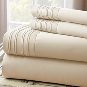 1000 Thread Count Pleated Hem Sheet Set - Taupe
