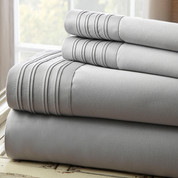 1000 Thread Count Pleated Hem Sheet Set - Gray