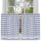 "Buffalo Check 24"" kitchen curtain tier - Grey"