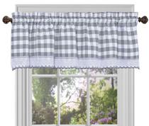 Buffalo Check Kitchen Curtain valance - Grey