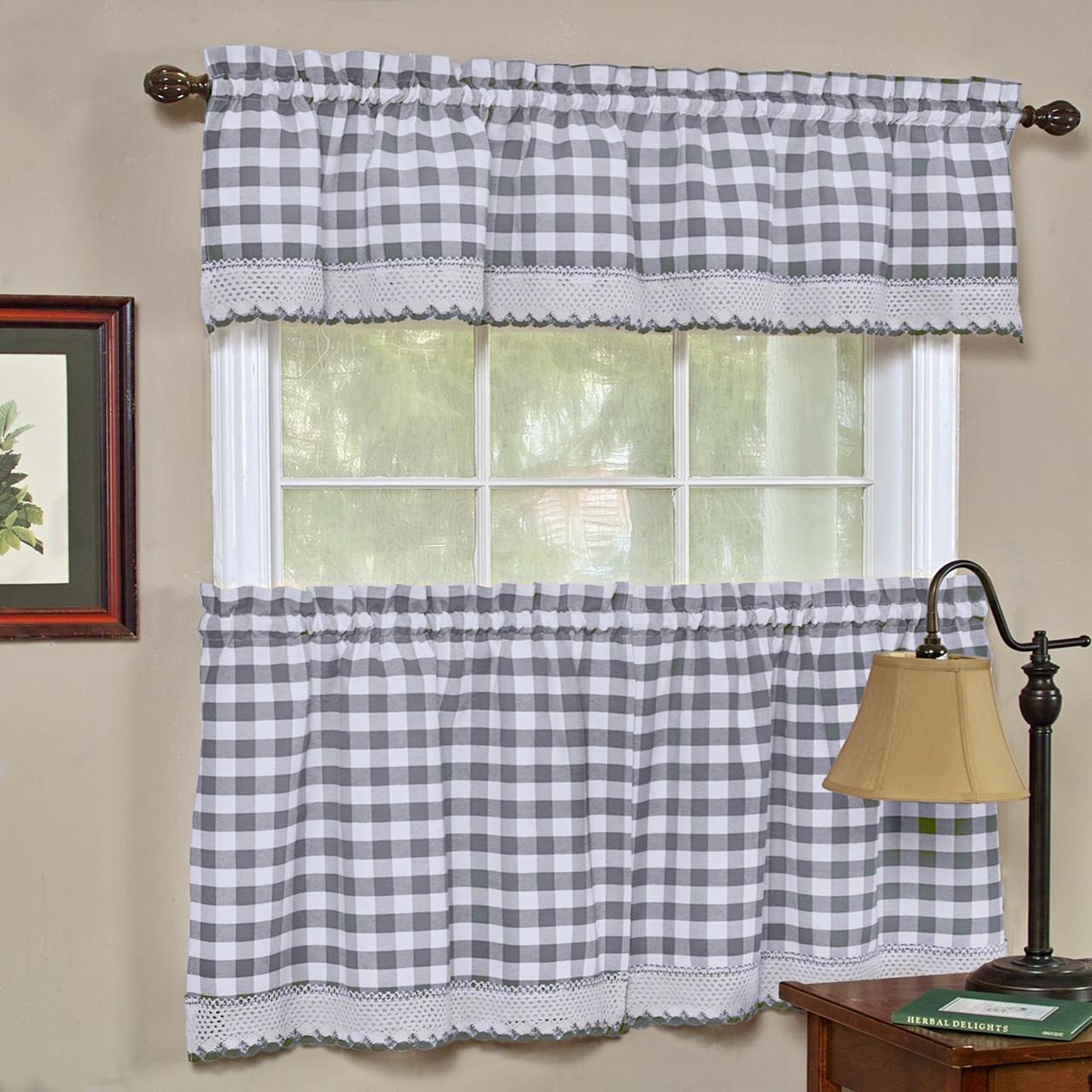 Gray Kitchen Valances: Buffalo Check Kitchen Curtain