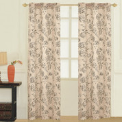 Fiona Floral Grommet Top Curtain pair - Taupe from United Curtain