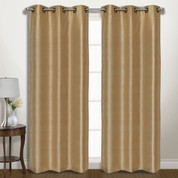 Vintage Faux-Silk Blackout Grommet Top Curtain pair - Gold