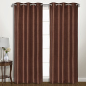 Vintage Faux-Silk Blackout Grommet Top Curtain pair - Chocolate from United Curtain