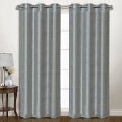 Vintage Faux-Silk Blackout Grommet Top Curtain pair - Silver from United Curtain