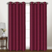 Vintage Faux-Silk Blackout Grommet Top Curtain pair - Burgundy