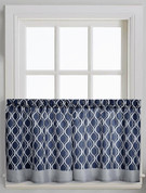 "Morocco 36"" kitchen curtain tier - Navy from CHF"