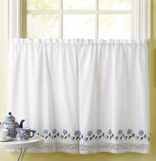 "Leighton 36"" kitchen curtain tier - Blue from CHF"
