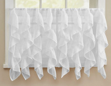 "Cascade 24"" kitchen curtain tier - White"