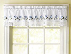 Leighton kitchen curtain valance - Blue