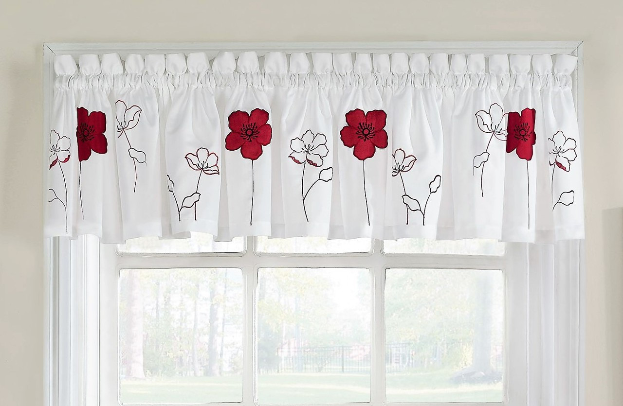 Poppy Garden kitchen curtain valance - Red - Linens4Less.com