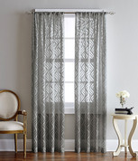 Lyric Ogee Printed Rod Pocket Curtain Panel - Grey from CHF