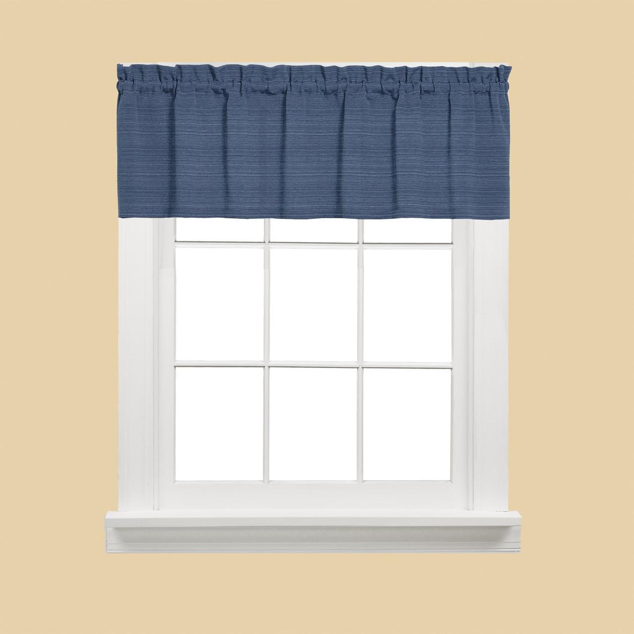 Austin Kitchen Curtain Valance Denim Blue Linens4less Com