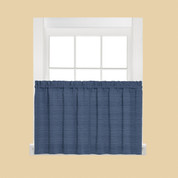 "Austin 36"" Kitchen Curtain Tier - Denim Blue"