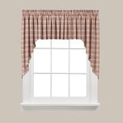 Dexter Plaid Kitchen Curtain Swag - Red