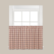"Dexter Plaid 24"" Kitchen Curtain Tier - Red"