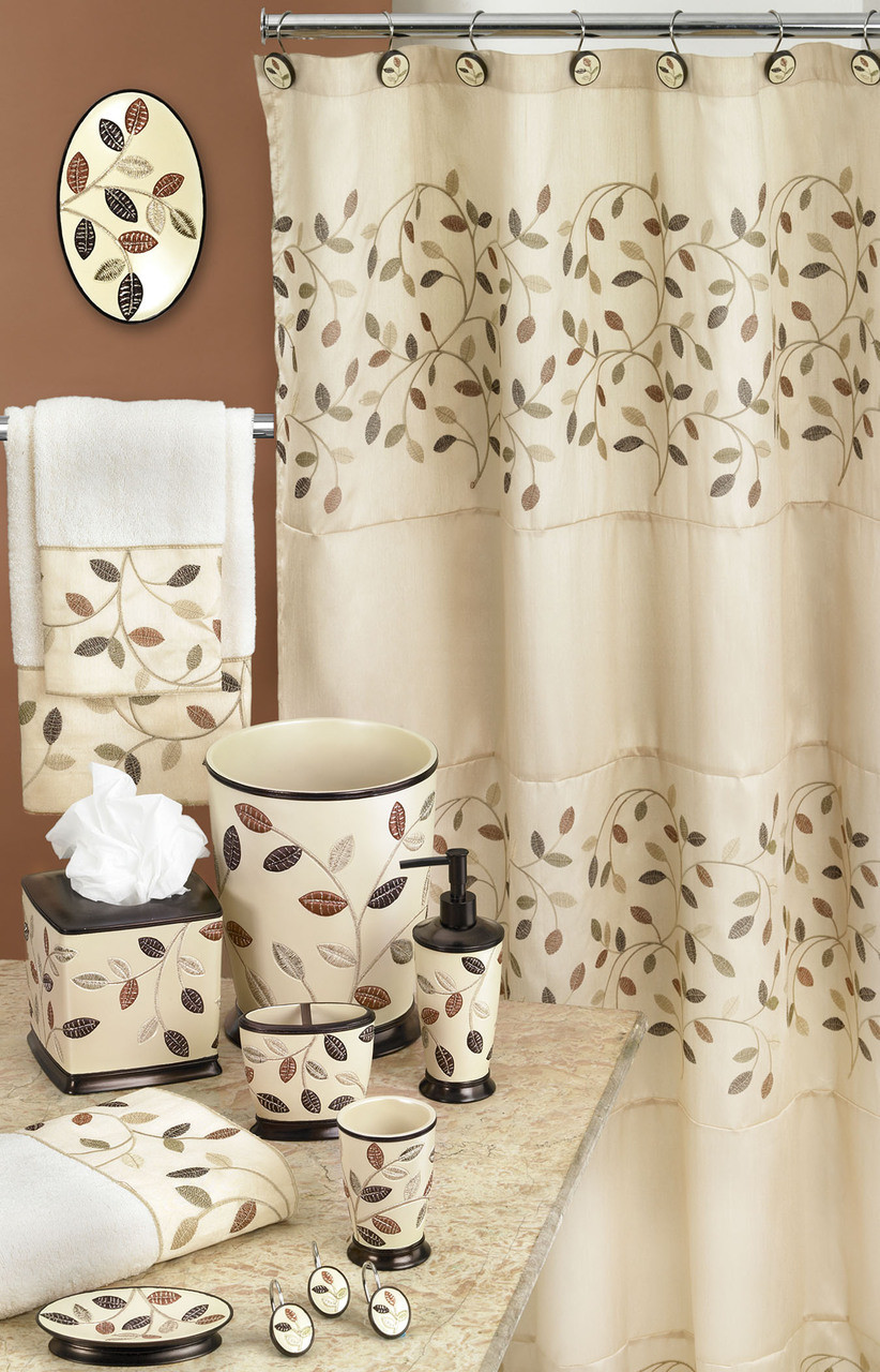Aubury shower curtain bathroom accessories beige for Beige bathroom set